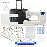 Janome Memory Craft 6300P Sewing Machine Bundle with Rolling Trolley, Blue Buttlerfly Bobbins and Size 14 Needles