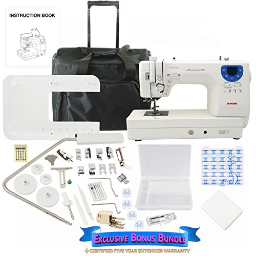 Janome Memory Craft 6300P Sewing Machine Bundle with Rolling Trolley, Blue Buttlerfly Bobbins and Size 14 Needles by Janome