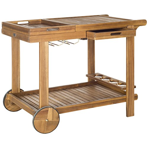 Safavieh Outdoor Living Collection Orland Tea Trolley, Teak (Teak Trolley)