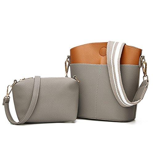 Meaeo Bag Messenger Bag Fashion Handbag European Style Two Bolts Mother Wear Waterproof Bag, Black Light Gray