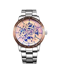 GuTe IK Colouring Mens Luxury Skeleton Rose-gold Auto Mechanical Wristwatch All Steel
