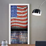 Gzhihine custom made 3d door stickers Rustic Decor American Usa Flag Fourth Of July Independence Day Adorn National Democracy Art Rough Wood Looking Decor For Room Decor 30x79