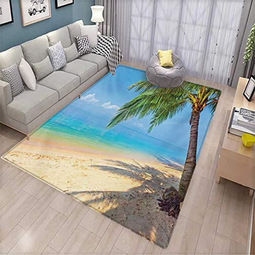 - Landscape Extra Large Area Rug Tropic Botanic Image with Coconut Palms Near Ocean Sea Beach Photo Bath Mat for tub 6'6