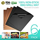100% Non-stick BBQ Grill Mats, Set of 6 (3 Black/3 Gold), JVICE FDA-Approved, PFOA Free, Reusable & Easy Cleaning, 15.75 x 13 Inch