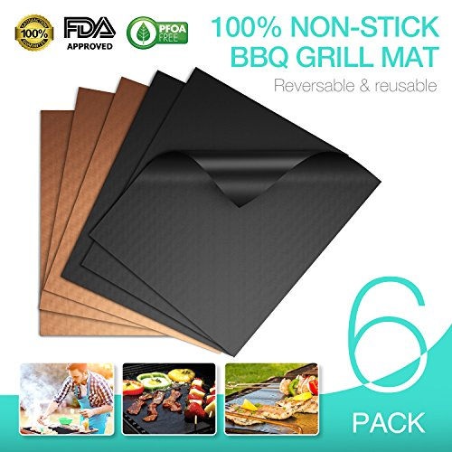 100% Non-stick BBQ Grill Mats, Set of 6 (3 Black/3 Gold), JVICE FDA-Approved, PFOA Free, Reusable & Easy Cleaning, 15.75 x 13 Inch by JVICE