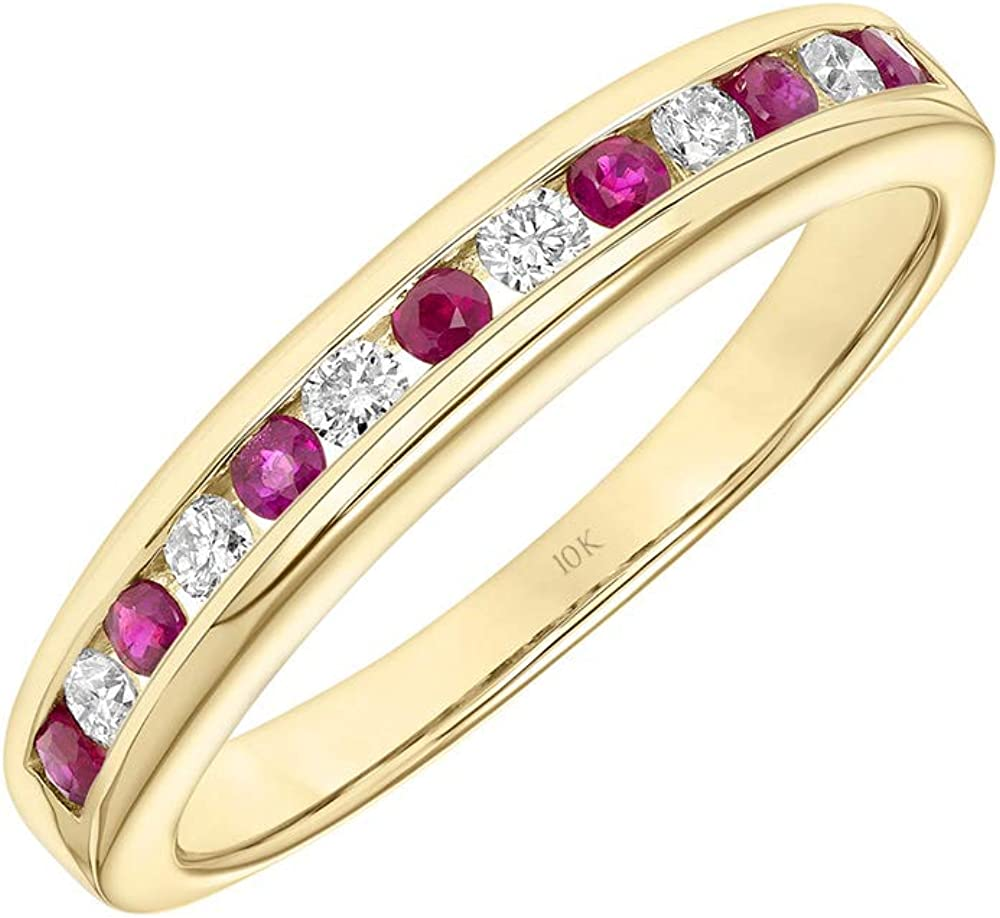 Brilliant Expressions 10K Yellow Gold Conflict Free Diamond and Ruby Channel Set July Birthstone Stackable Band, Diamond 1/6 Cttw (I-J Color, I2-I3 Clarity); Ruby 1/3 Cttw