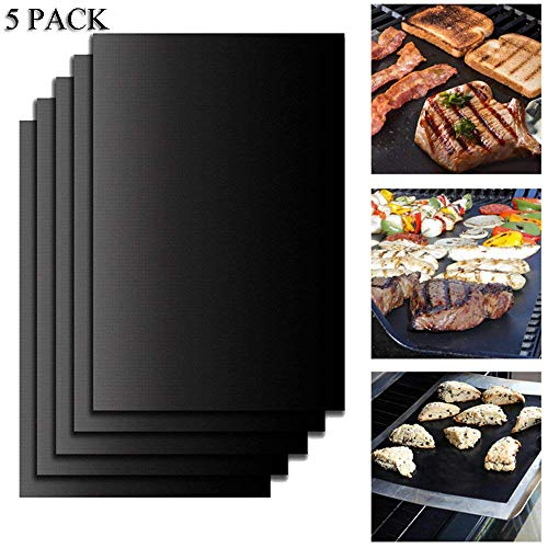 Langxian BBQ Grill Mat Set of 5,Non-Stick BBQ Grill & Baking Mats for Gas Charcoal Electric and Smoker Barbecue Grills,Reusable, and Easy to Clean Barbecue Grilling Accessories -15.75 x 13 Inch by Langxian