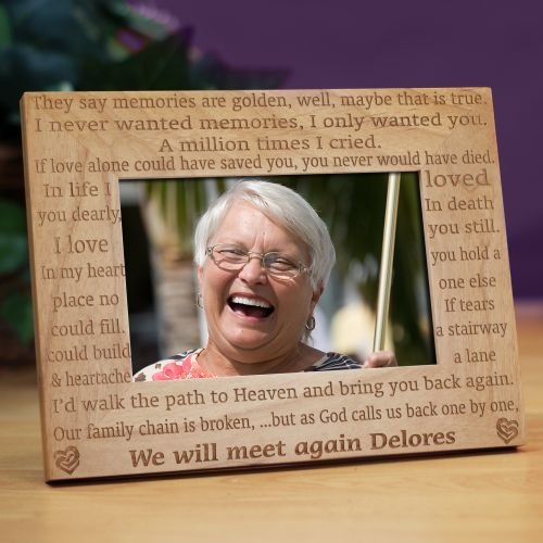 We Will Meet Again Memorial Wood Picture Frame, Holds a 3.5