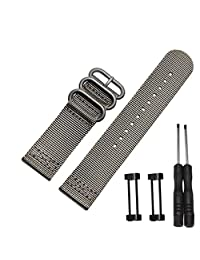 Efitty Luxury Nylon 3 Ring Lugs Watch Band Strap Replacement + Adapters For Suunto Core (Grey)