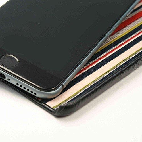 Alston Craig Schlank-Shell-Weinlese echtes Leder Formkastenabdeckung für Apple iPhone 6 - Schwarz (Rot Streifen ) + Displayschutzfolie