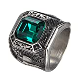 PAMTIER Men's Stainless Steel Big Square Zirconia Golden Wedding Rings Green Diamond Size 7