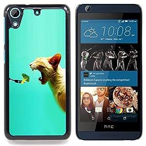 "Qstar Arte & diseño plástico duro Fundas Cover Cubre Hard Case Cover para HTC Desire 626 (Brócoli fresco Vegan Food Gato Mordedura Boca"")"
