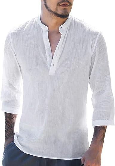 PPangUDing Camisa de lino para hombre, manga larga, cuello
