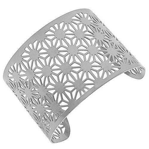 (My Daily Styles Stainless Steel Silver-Tone Cut-Out Design Wide Open End Cuff Bangle Bracelet)