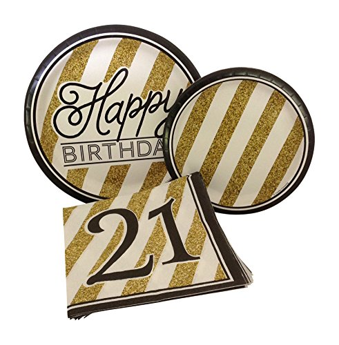 Black and Gold Happy 21st Birthday Party Bundle with Paper Plates and Napkins for 8 Guests