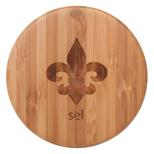 """Totally Bamboo Eco-Friendly Salt Box, Fleur-de-Lis with """"Sel"""", 3-1/2 by 3-1/2 by 2-3/4 Inches"""