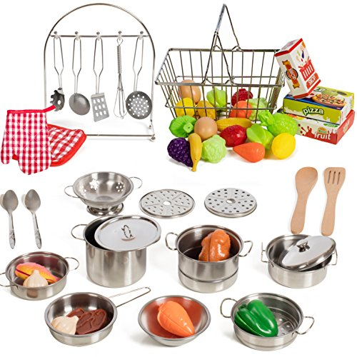 Fake Plastic Food (IQ Toys 50 Piece Complete Pretend Play Food Set, Complete from Supermarket Shopping to Cooking)