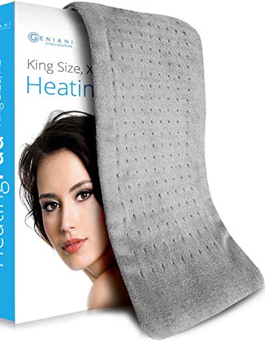 XL Heating Pad - Electric Heating Pad for Moist and Dry Heat Therapy - Fast Neck/Shoulder/Back Pain Relief at Home - 12' x 24', GENIANI (Tabby Gray XL)