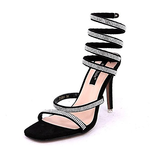 HAIZHEN Women shoes Women's Sandals Spring Summer Fall Wedding Dress Party & Evening Stiletto Heel Black Green Pink Silver for Women (Color : Silver, Size : EU39/UK6/CN39) Black