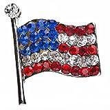 ACCESSORIESFOREVER Patriotic Jewelry American Flag Crystal Rhinestone Brooch Pin BH56 Silver