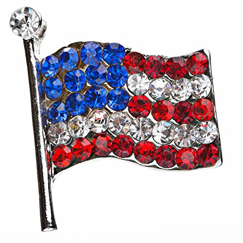 ACCESSORIESFOREVER Patriotic Jewelry American Flag Crystal Rhinestone Brooch Pin BH56 Silver by Accessoriesforever