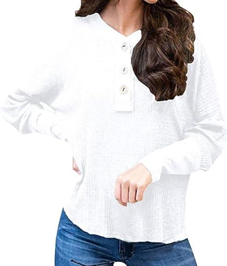 VEMOW Camisetas Mujer Suéter Casual Moda Cuello Redondo Color ...