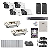 Visionis And Vezco FPC-6973 Professional Integration Security 4 Bullet Cameras DVR With 2TB HD Included, 2 Door Access Control 10,000 User Electric Strike Exit Button Kit