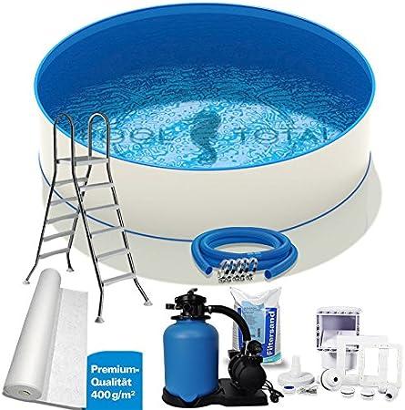 Set de piscina redonda premium + Ø5, 50 x 1, 50 m, 0, 8 mm de acero, lámina de 0, 8 mm con cuña/filtro de arena, skimmer, manguera y escalera/piscina de pared