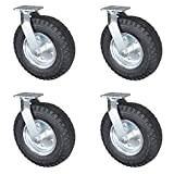 Service Caster - 12'' Black Pneumatic Rubber Wheel - 4 Swivel Casters - Set of 4