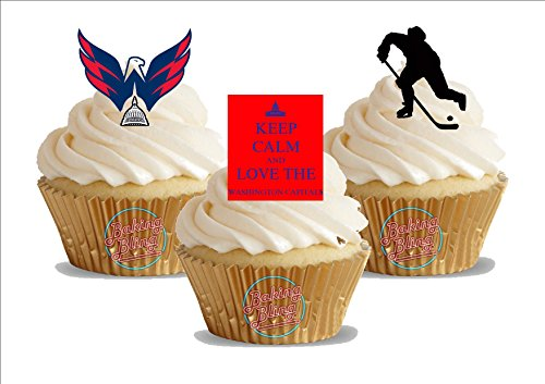 12 x Ice Hockey Washington Capitals Trio Mix - Fun Novelty Birthday PREMIUM STAND UP Edible Wafer Card Cake Toppers Decoration