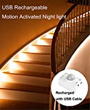 Motion Activated Rechargeable Night light , Amagle Flexible LED Strip Motion Sensor Night Light Bedside Lamp Illumination with Automatic Shut Off Timer (3000K Warm White )