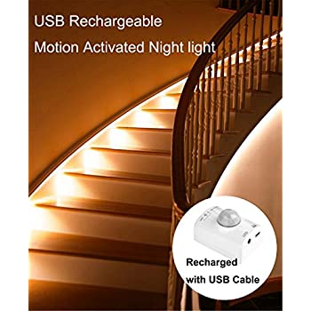 Motion Activated Rechargeable Night Light , Amagle Flexible LED Strip  Motion Sensor Night Light Bedside Lamp