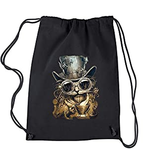 Expression Tees Steampunk Cat With Top Hat Cotton Drawstring Backpack