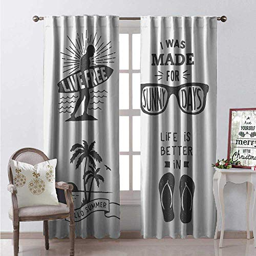 Hengshu Quote Waterproof Window Curtain Collection of Summer Themed Typography Artworks Beach Sunglasses Palm Pattern Decorative Curtains for Living Room W108 x L108 Black Grey ()