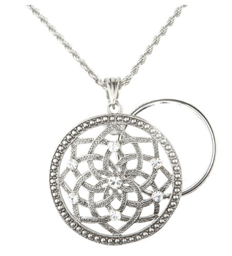 Charmed Life Magnifier Necklace | 5x Zoom Glass Lens | 27.94 mm Diameter | Elegant Design | Adjustable 30 inch Chain | Lotus