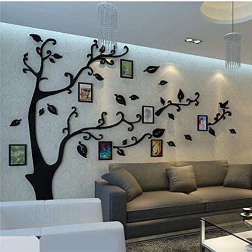 51PCtRyv%2BTL. AC - 3D Tree Wall Stickers - DIY Photo Frame Tree Wall Decal Family Photo Frame Sticker Murals Wall Décor For Nursery Living Room Bedroom TV Background Home Decorations (XL:10979in, Black Right)