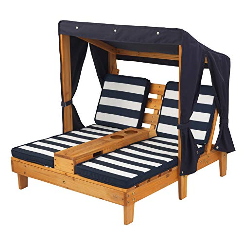 (KidKraft Outdoor Double Chaise Lounge, Honey/Navy/White, One Size)