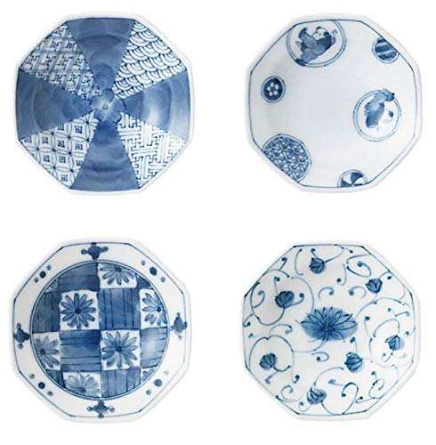 Japanese Ceramic blue and white octagonal small dish set,condiment or sushi sauce, appetizer, dessert, 3.74