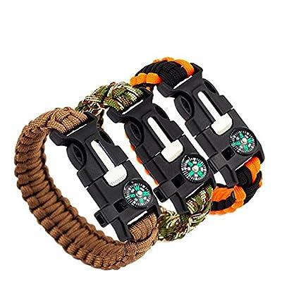 InLife 5 in 1 Outdoor Survival Gear Escape Paracord Bracelet Flint / Whistle / Compass / Scraper(Black)