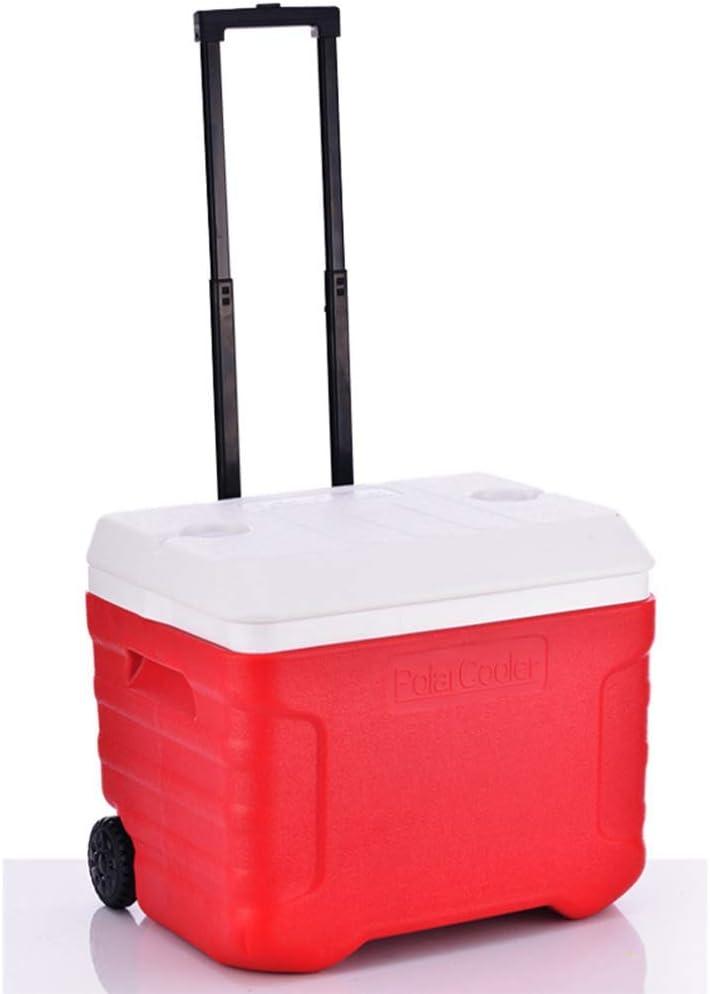 Caja Enfriadora 40l Al Aire Libre Tire De La Rueda De La Barra Caja del Refrigerador De La PU Medicamento Medico Refrigerador 51.5 * 40 * 44cm,Red