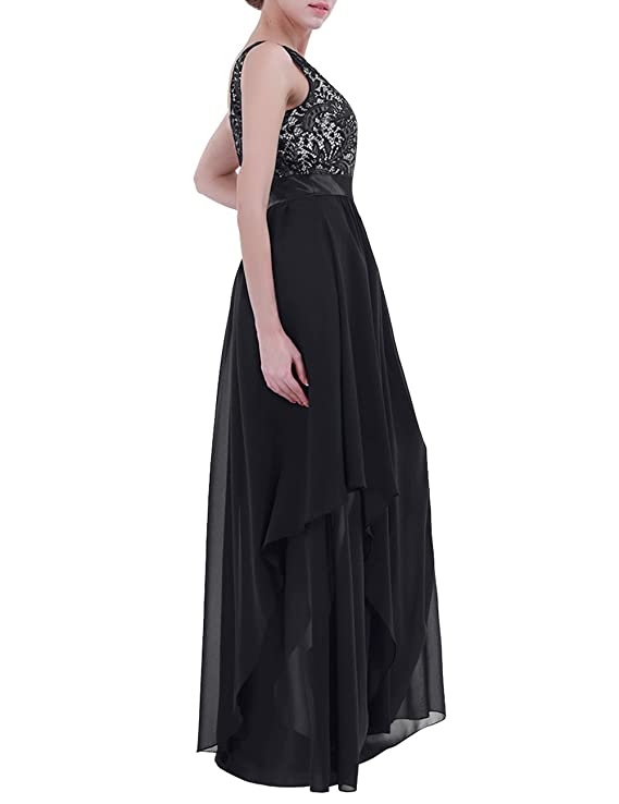 iEFiEL Womens V-Back Chiffon Elegant Empire Wedding Party Bridesmaid Formal Dress: Amazon.co.uk: Clothing