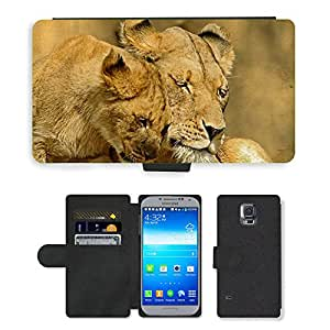 PU LEATHER case coque housse smartphone Flip bag Cover protection // M00110749 Leones Animales Mamíferos Tender Love // Samsung Galaxy S5 S V SV i9600 (Not Fits S5 ACTIVE)