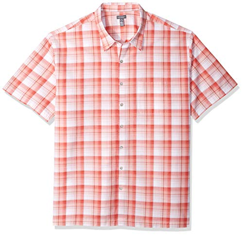 Van Heusen Men's Big and Tall Air Short Sleeve Button Down Plaid Shirt, Spiced Coral, 3X-Large ()