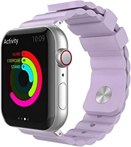 AhaStyle Stylish iWatch Band Breathable Silicone Wrist Strap Replacement Compatible with Apple Watch Series SE/6/5/4/3/2/1, iWatch 38mm 40mm 42mm 44mm(Lavender, 42mm/ 44mm)