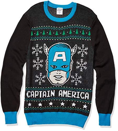 Captain America Christmas (Marvel Men's Captain America Sweater, Black,)
