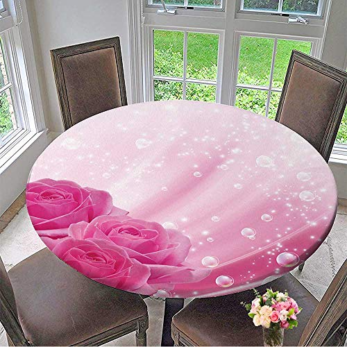 Mikihome Elasticized Table Cover Pink Roses and Bubbles Machine Washable 55