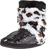 Blazin Roxx Women's Sequin Leopard Boot Slippers, Black Faux Fur, XL