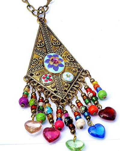 Long Antiqued Gold Plated Colorful Boho Necklace with Hand Painted Flowers and Dangling Glass Heart Charms ()