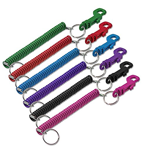 Lucky Line Designer Key Coil with Clip; Assorted Colors; 1 Per Card (41601)