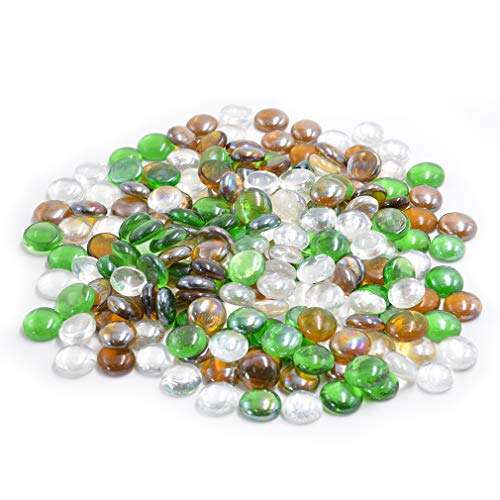 Skyflame 10-Pound Blended Fire Glass Drops for Fire Pit Fireplace Landscaping, 1/2-Inch Emerald Green, Crystal Ice, Caramel Luster